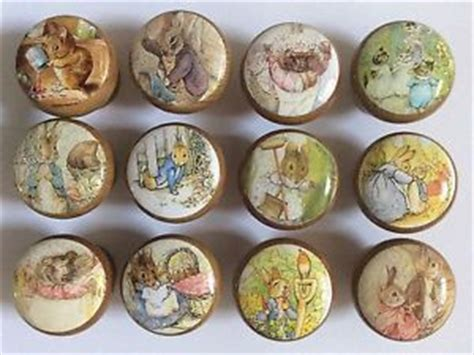 decoupage knobs handcrafted beatrix potter rabbit friends