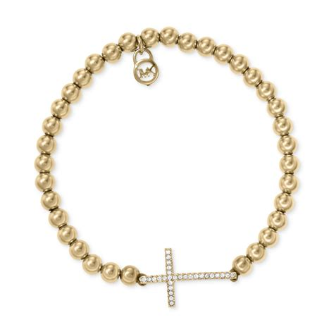 michael kors beaded bracelet uk michael kors goldtone bead cross stretch bracelet