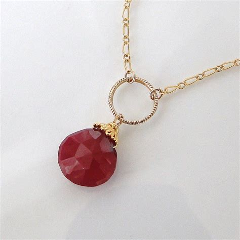 ruby gold necklace genuine ruby necklace 5 carats 14k gold filled and