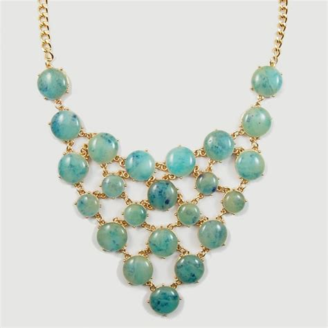 turquoise baubles jelly turquoise marble cabochon net golden statement necklace
