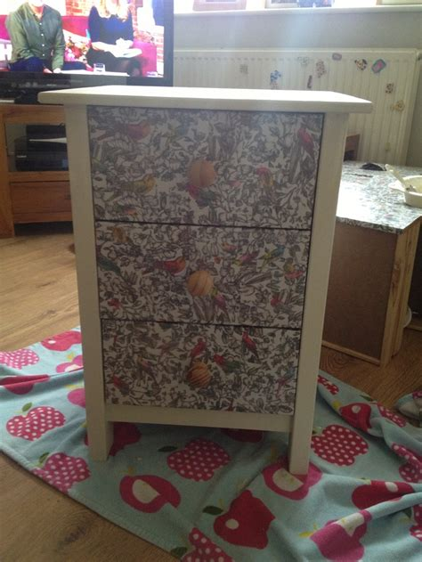 decoupage furniture with wrapping paper a decoupaged bedside table i used paper wrapping