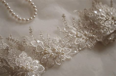 beaded lace ivory pearl beaded lace trim ivory alencon lace trim