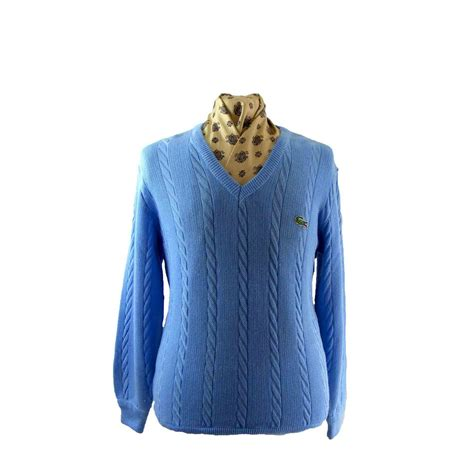 blue knit sweater blue cable knit lacoste sweater blue 17 vintage fashion
