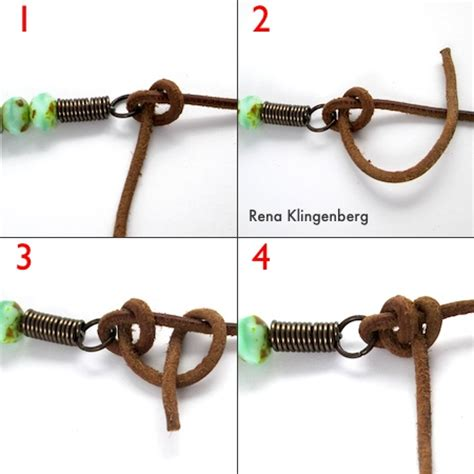 how to tie a bead bracelet rustic leather bead necklace tutorial half hitch