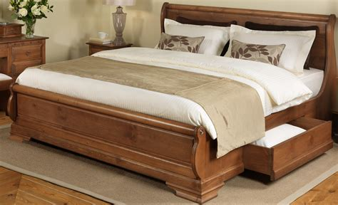 king size oak bed frame king size rustic varnished oak wood sleigh bed frame with