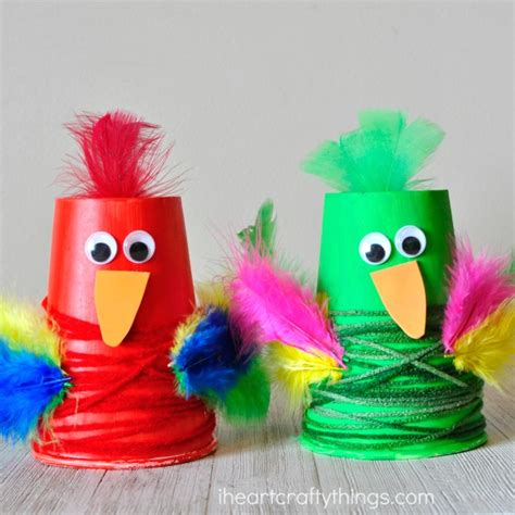 how to make parrot with craft paper colorful paper cup parrot craft i crafty things