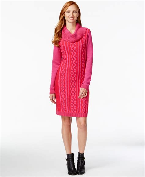 sweater knit dress hilfiger cowl neck cable knit sweater dress in pink