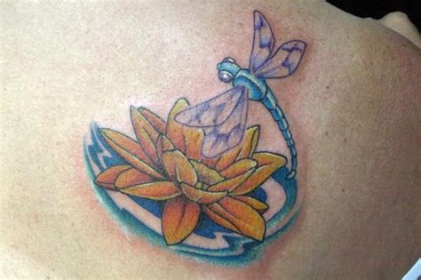 dragonfly with lotus tattoos