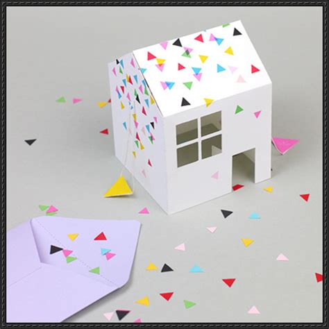 pop up paper crafts pop up house invitation free papercraft template