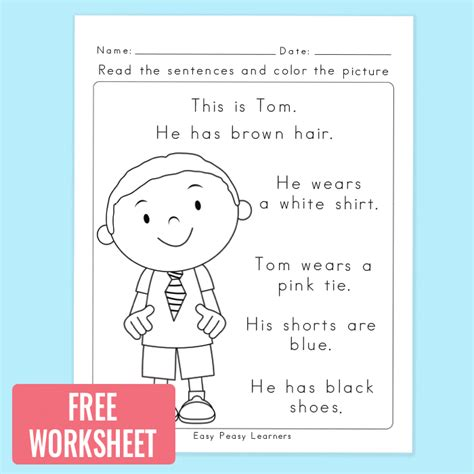 one free read read and color reading comprehension worksheets for grade