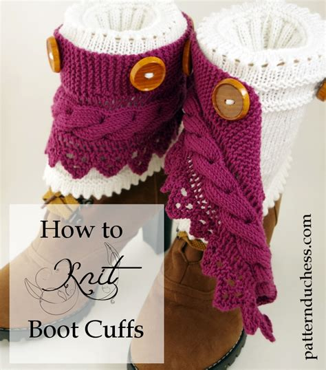how to knit leg warmers boot cuffs pattern with buttons and lace pattern duchess