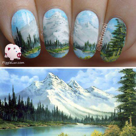 bob ross painting app nail inspired by bob ross nails nailart bellashoot