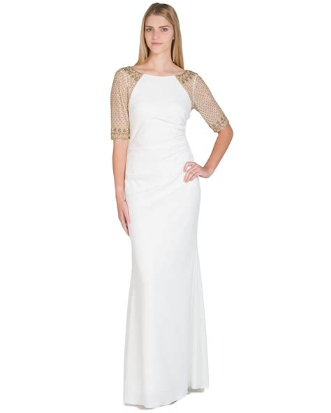 beaded white gown badgley mischka raglan beaded sleeve evening gown in white