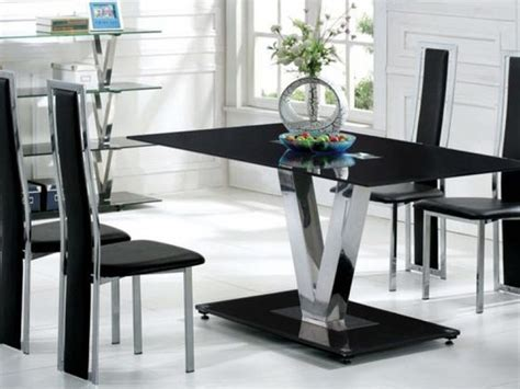 glass dining table sets 6 chairs black glass dining table and 6 black chairs set homegenies