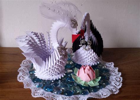 3d origami wedding wedding swan plate 2 etsy
