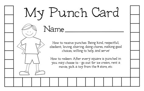 how to make a punch card my responsibilities punch card weheartfreebies