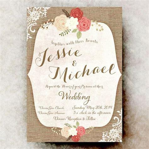 shabby chic wedding invitation templates burlap lace wedding invitation shabby chic invitation