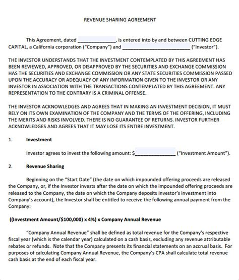profit sharing agreement 9 free samples examples format