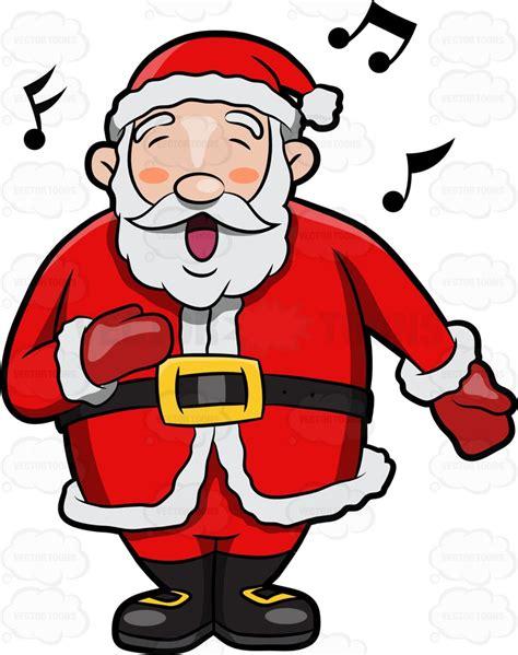 singing santa claus a jolly santa claus singing in delight clipart
