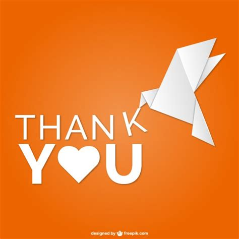 thank you origami thank you vector with origami bird vector free