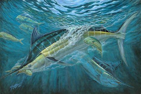 acrylic painting underwater blue and mahi mahi underwater painting by terry fox
