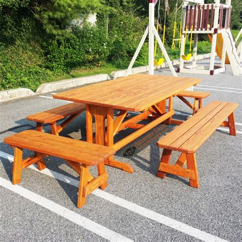 custom picnic table with pedestal and benches custom