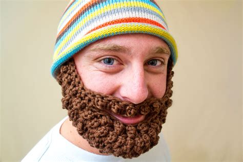 knitted beard knitted hat with beard movember limited by innov8iveknits