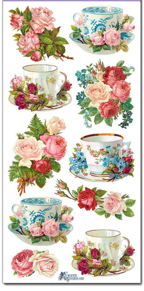 Stickers Teacups Roses Decoupage Collage Mixed