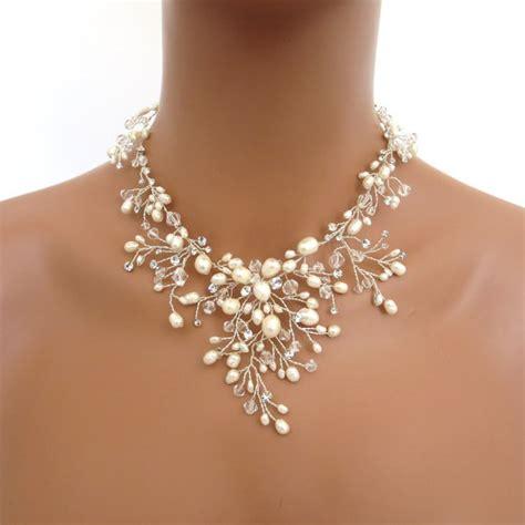 swarovski crystals for jewelry bridal freshwater pearl necklace set wedding jewelry set