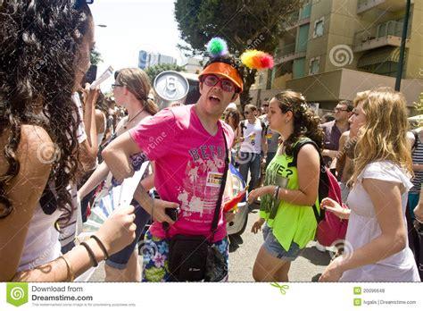 parade ta arguing at pride parade in ta editorial stock