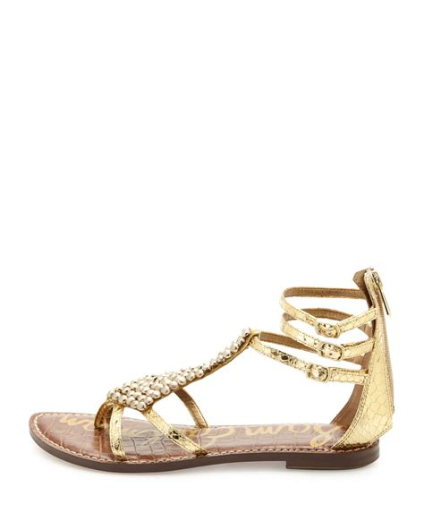 beaded gladiator sandals sam edelman beaded metallic gladiator sandal in
