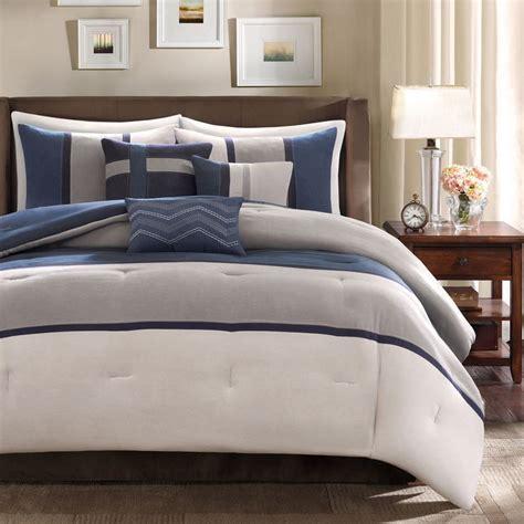 gray and blue comforter sets ultra soft contempoary 7pc blue grey navy modern stripe
