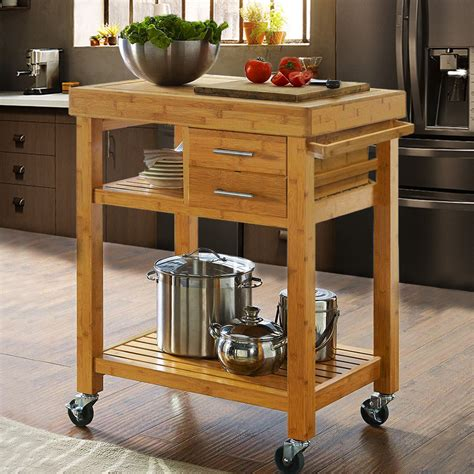 kitchen island rolling cart rolling bamboo kitchen island cart trolley cabinet w towel rack drawer shelves 764475460126 ebay
