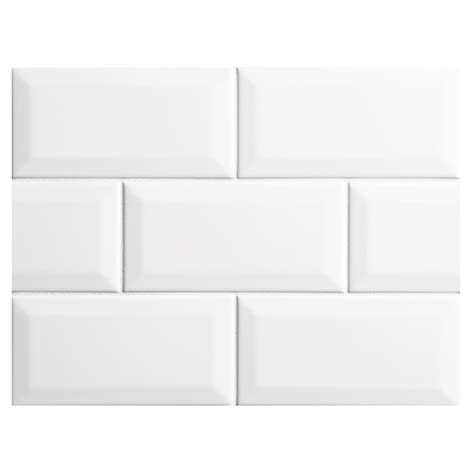 nori ceramic collection subway tile white gloss 3 quot x 6 quot beveled