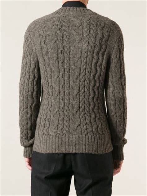 brown cable knit sweater tom ford cable knit sweater in brown for lyst