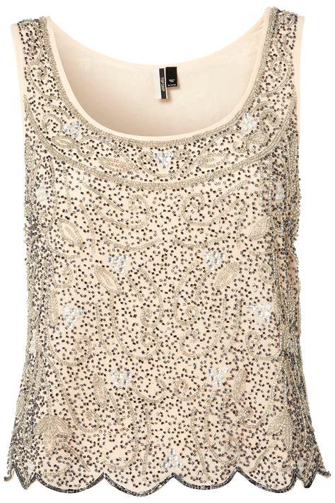 beaded tops topshop premium beaded swirl crop vest in pink lyst