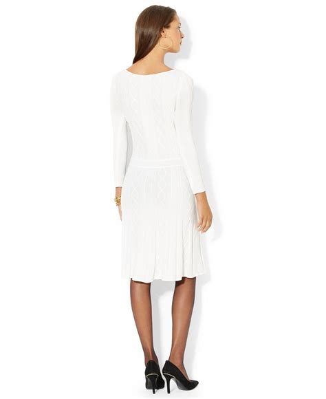 white cable knit sweater dress by ralph sleeve cable knit sweater