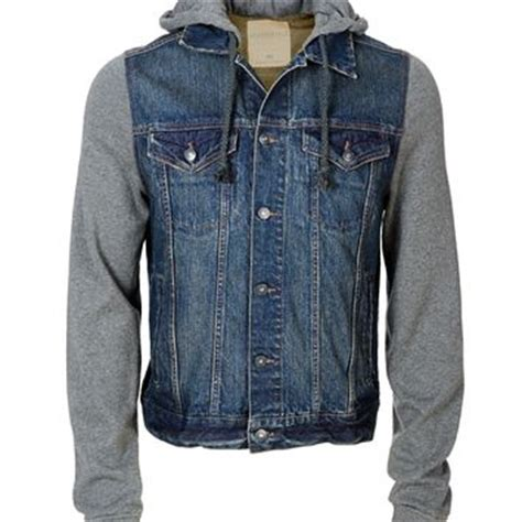 knit sleeve jacket knit sleeve hooded denim jacket from a 233 ropostale
