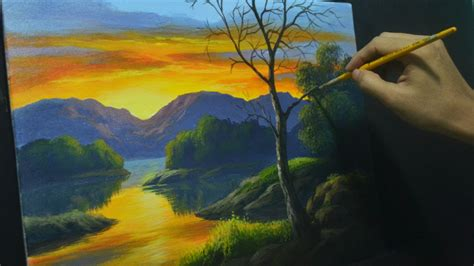 acrylic painting lesson acrylic landscape painting lesson sunset river by jml