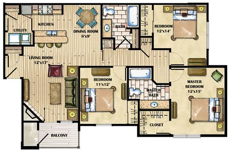 apartment layout design three bedroom apartment layout homes floor plans