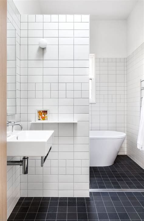 White Tile Bathroom by The Baffle House By Clare Cousins Architects Contemporist