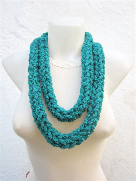 finger knitting scarf crochet scarf infinity finger knitting scarf teal by