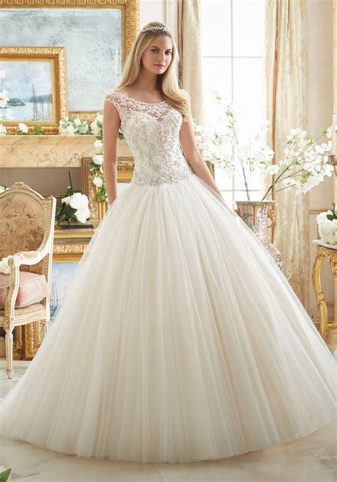 wedding gown beaded embroidery on tulle gown style 2884