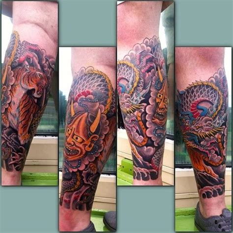 japanese leg sleeve by andrew conner alley cat tattoo