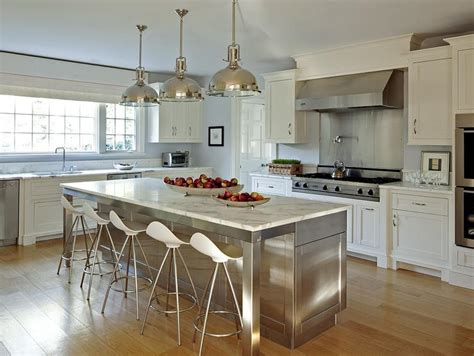 stainless steel kitchen island with marble countertops and onda barstools transitional kitchen
