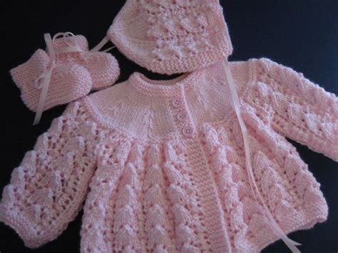 baby sets knitting patterns knitted baby pink sweater bonnet booties set