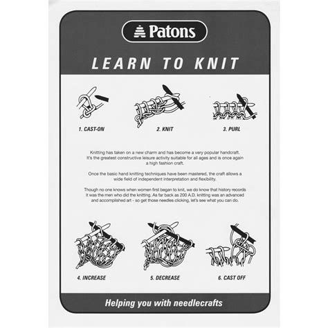 learn to knit patons learn to knit leaflet knitting yarns by mail