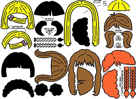 printable pictures of hairstyles printable hair templates for paper dolls paperdoll
