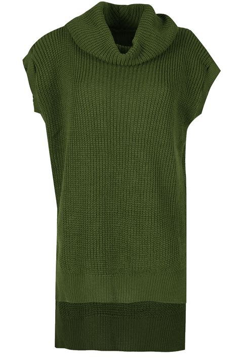 chunky knit jumper womens womens cowl neck sleeveless high low chunky knit