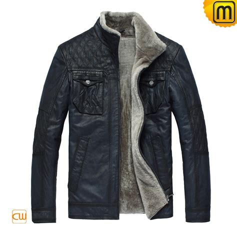 lined leather jacket blue fur lined leather jacket cw819421